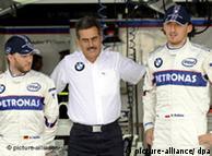 Nick Heidfeld (izq.), Mario Theissen y Robert Kubica (dcha.).