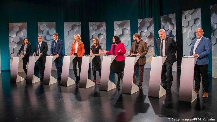 Parlamentswahlen in Island TV-Debatte (Getty Images/AFP/H. Kolbeins)