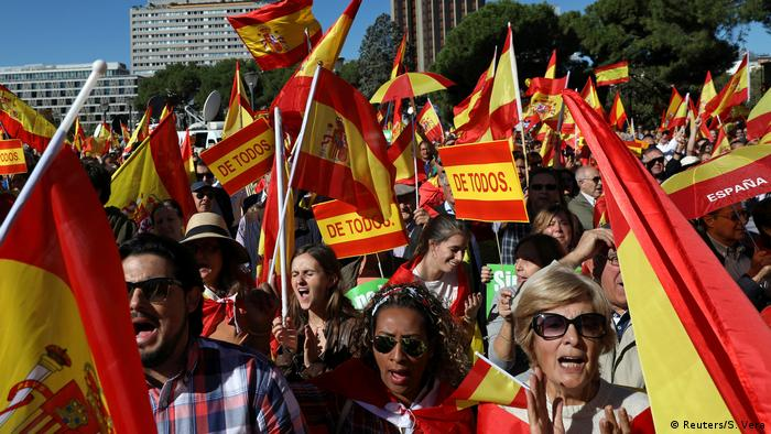 Demonstrators with Spanish flags (Reuters/S. Vera)