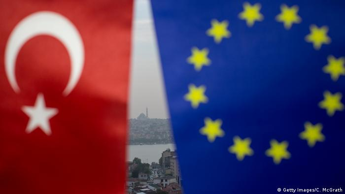 European Union and Turkish flags fly in Istanbul