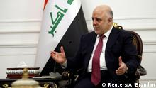 Iraq's Prime Minister Haider al-Abadi speaks with U.S. Secretary of State Rex Tillerson (not pictured) in Baghdad, Iraq October 23, 2017. REUTERS/Alex Brandon/Pool
