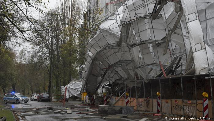 A scaffolding falls at a construction site in Berlin