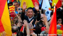29.10.2017***Spanish Partido Popular (PP - People's Party) leader Xavier Garcia Albiol greets protesters as he joins a pro-unity demonstration in Barcelona on October 29, 2017. Pro-unity protesters were to gather in Catalonia's capital Barcelona, two days after lawmakers voted to split the wealthy region from Spain, plunging the country into an unprecedented political crisis. / AFP PHOTO / LLUIS GENE (Photo credit should read LLUIS GENE/AFP/Getty Images)