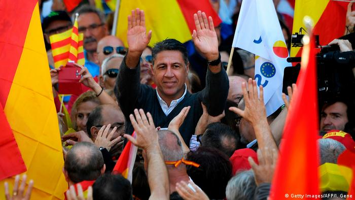 Xavier Garcia Albiol, del PP, en manifestaciones prounidad española en Barcelona.