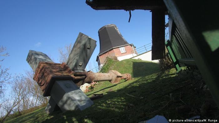 Deutschland Sturmtief Herwart historische Windmühle in Oldenswort (picture-alliance/dpa/W. Runge)