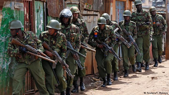 Anti-riot police attempt to disperse protesters in Kawangware slums in Nairobi, Kenya