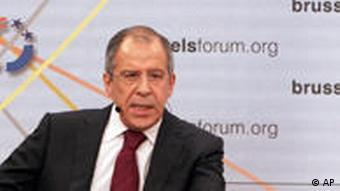 Russian Foreign Minister Sergey Lavrov gestures while speaking during the annual Brussels Forum meeting in Brussels, Saturday March 21, 2009. The Brussels Forum is a high-level meeting of the most influential North American and European political, corporate and intellectual leaders to address pressing challenges currently facing both sides of the Atlantic. (AP Photo/Virginia Mayo)