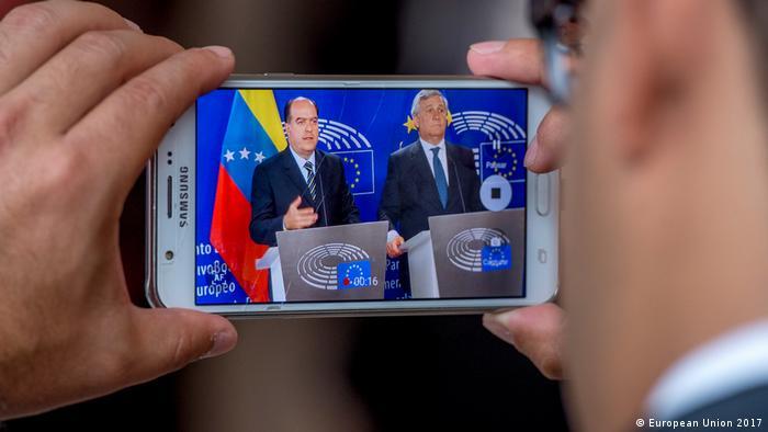 Belgien Julio Borges und Antonio Tajani in Brüssel (European Union 2017)
