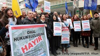 Акция протеста в столице Турции Анкаре против увольнения преподавателей вузов, 2017 год