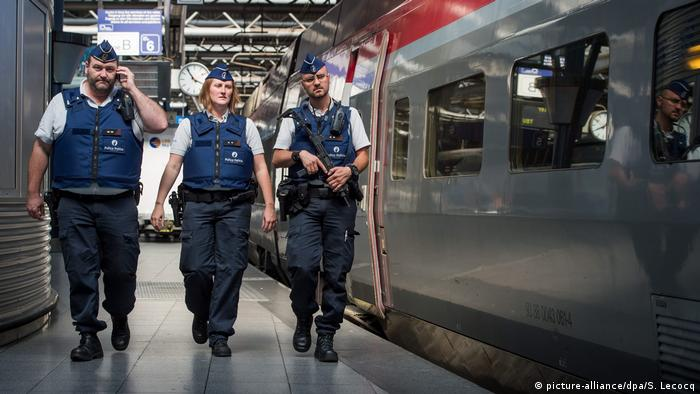 Belgian security forces patrol the Thalys train station in Brussels after an attempted attack in 2015