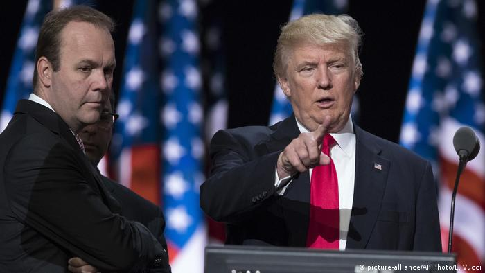Rick Gates & Donald Trump at the Republican Convention (picture-alliance/AP Photo/E. Vucci)