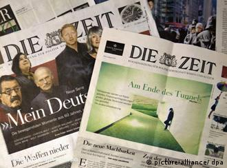 Attac's fake newspaper next to an original edition of the German weekly 'Die Zeit'