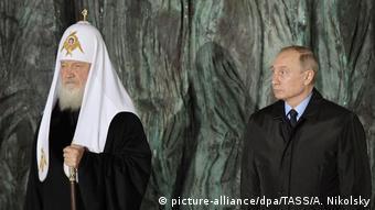 Russland Patriarch Kirill und Präsident Putin- Eröffnung Denkmal gegen politische Repression in Moskau