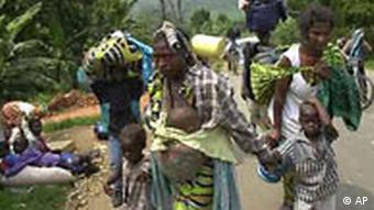 People fleeing a natural disaster in Goma