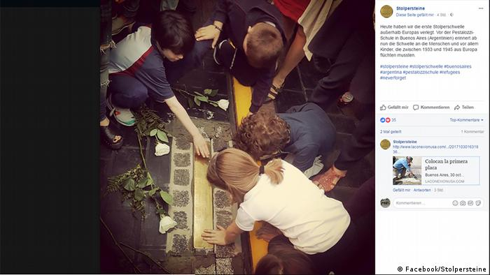 Artist's Facebook post of the memorial laying in Argentina (Facebook/Stolpersteine)