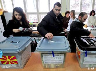 People cast their ballots during the elections in Macedonia