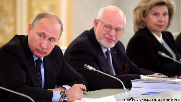 Владимир Путин, Михаил Федотов и Татьяна Москалькова на заседании СПЧ.