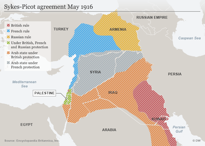 A map of the Sykes-Picot agreement