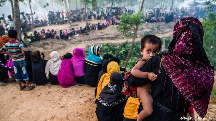 Rohingya refugees in a camp in Bangladesh for those displaced by violence in Myanmar