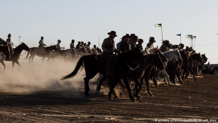 Re-enactment of Australian cavalry charge in Beersheba during World War One