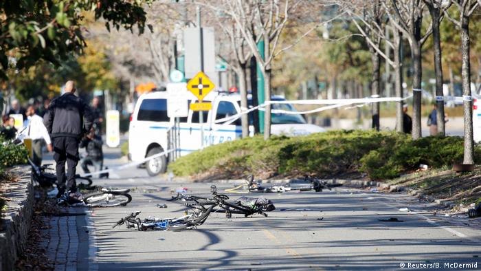 Multiple bikes are crushed along a bike path in lower Manhattan in New York,