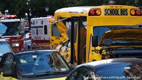 Schoolbus damaged in New York attack