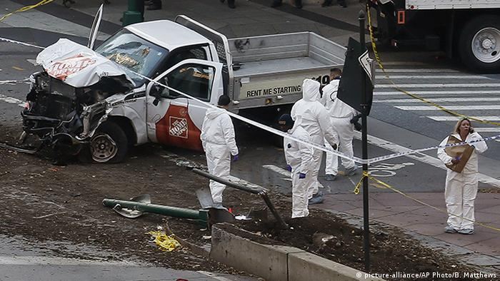 The vehicle used by a suspected terrorist in a deadly attack in New York City