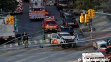 Emergency crews attend the scene of an alleged shooting incident on West Street in Manhattan, New York, U.S., October 31 2017. REUTERS/Andrew Kelly TPX IMAGES OF THE DAY