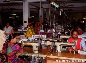 Women working in a textile factory in Dhaka
