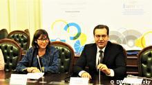 In Kiew fand eine Pressekonferenz nach dem Abschluss des Forums Euronest statt. Die Organisatoren zogen vor der Presse positive Bilanz der Tagung. Euronest1: Ko-vorsitzende der Euronest-Tagung Rebecca Harms und Marian Lupu.