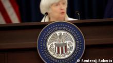 Die Vorsitzende der US-Notenbank Janet Yellen spricht während einer Pressekonferenz in Washington