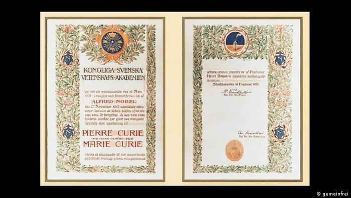 O documento do Nobel de Física de 1903