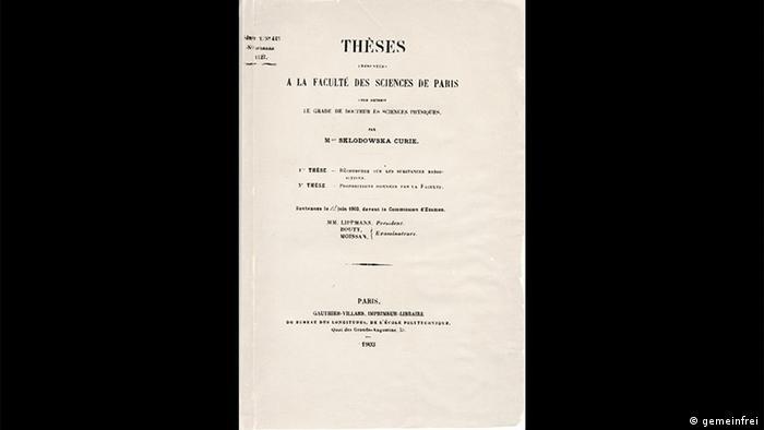 Capa do trabalho de doutorado de Marie Curie
