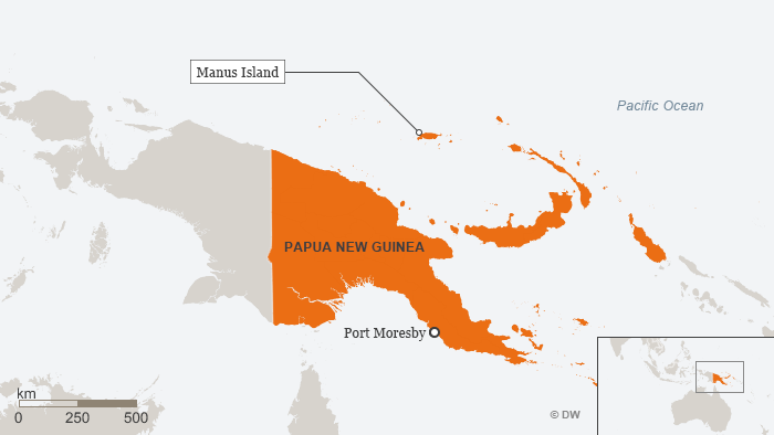 The detention center is on Manus Island north of the mainland