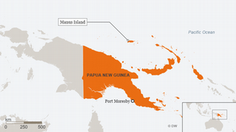 Manus Island lies north of the main island of Papua New Guinea in the Pacific Ocean