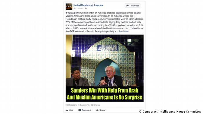 Fake Facebook Ad United Muslims of America Bernie Sanders