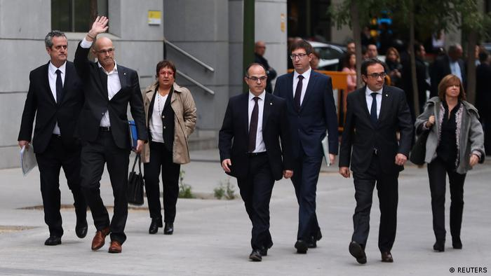 Dismissed Catalan cabinet members in Madrid