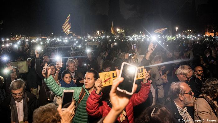 Protesters in Barcelona