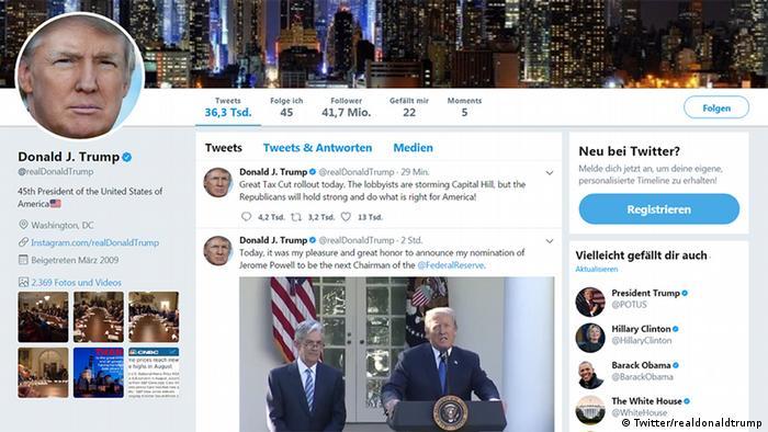 Screenshot Twitter: Donald Trump (Twitter/realdonaldtrump)