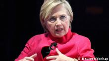 Former U.S. presidential candidate Hillary Clinton speaks during the 18th World Knowledge Forum in Seoul, South Korea, October 18, 2017. Yonhap via REUTERS ATTENTION EDITORS - THIS IMAGE HAS BEEN SUPPLIED BY A THIRD PARTY. NO RESALES. NO ARCHIVE. SOUTH KOREA OUT. NO COMMERCIAL OR EDITORIAL SALES IN SOUTH KOREA