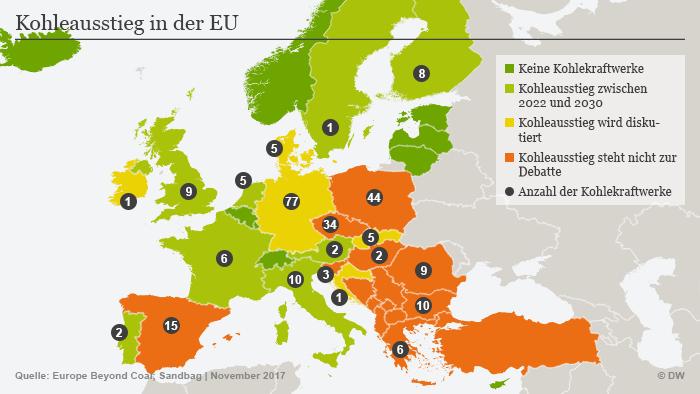 Infografik Kohleausstieg Europa Kohlekraftwerke DEU