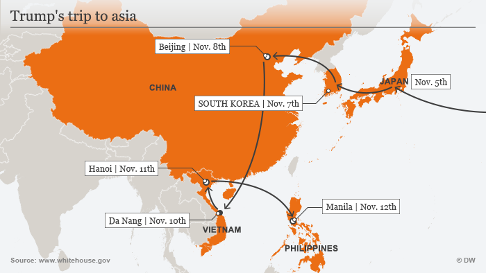 Map of Donald Trump's 2017 Asia trip