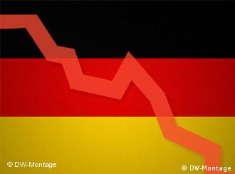Declining financial index over a German flag