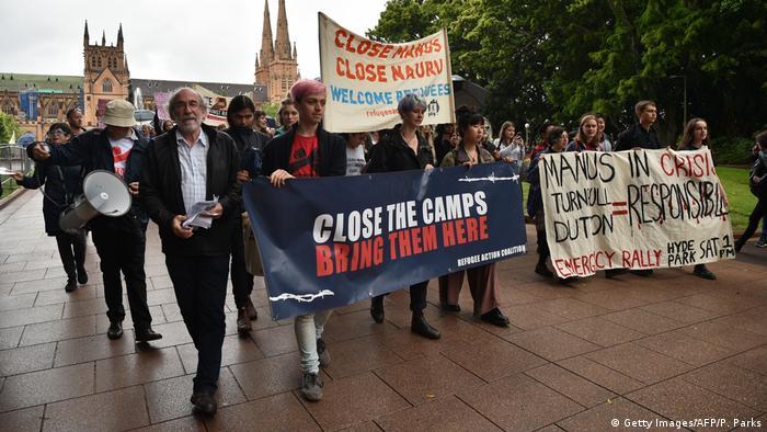 Proteste gegen Flüchtlingscamps in Sydney Australien