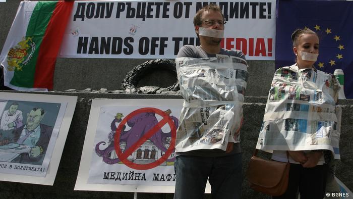 Bulgarien - Journalistenaktion vor dem bulgarischen Parlament für Presse- und Meiningsfreiheit (BGNES )