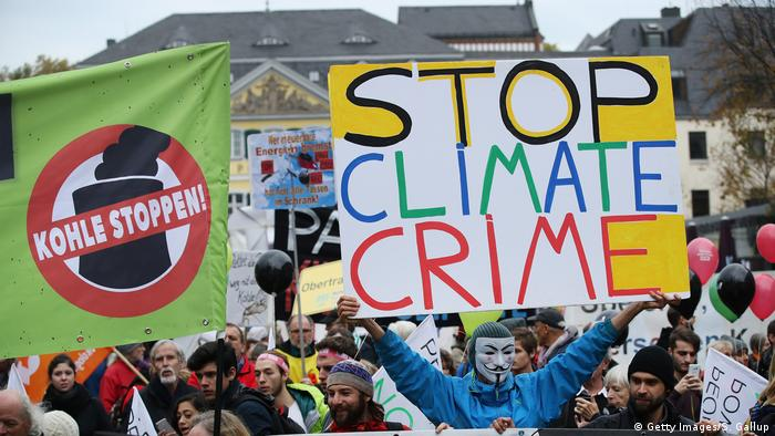People demonstrate against coal and for climate action at the world climate change conference in Bonn last year.