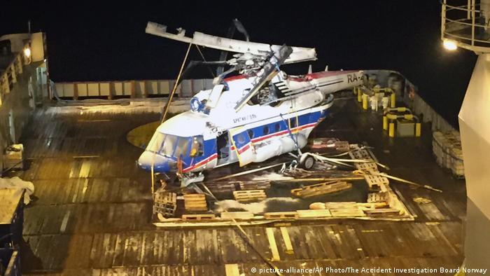 Russian helicopter raised from the seabed in the Arctic