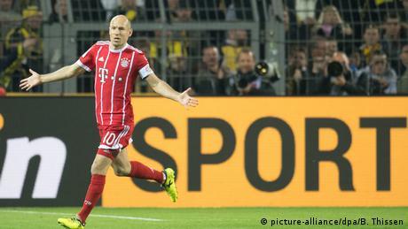 Arjen Robben's goal celebration in Dortmund (picture-alliance/dpa/B. Thissen)