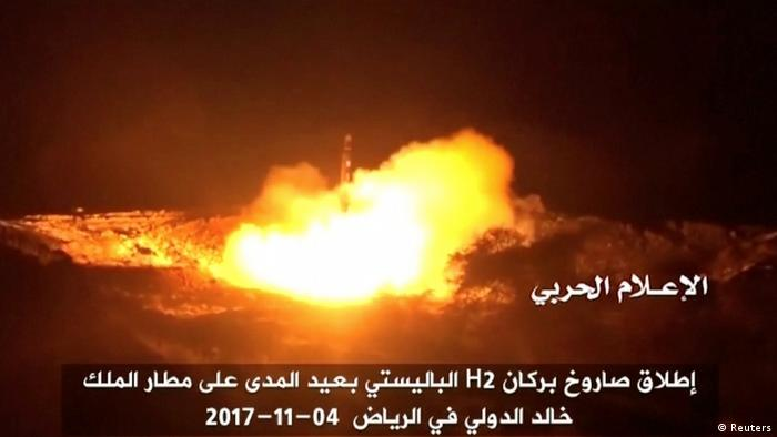 A still image taken from a video distributed by Yemen's pro-Houthi Al Masirah television station on November 5, 2017, shows what it says was the launch by Houthi forces of a ballistic missile aimed at Riyadh's King Khaled Airport on Saturday, Houthi Military Media Unit via REUTERS TV