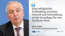 Zitattafel Klaus Töpfer. Geliefert von Christoph Hinners